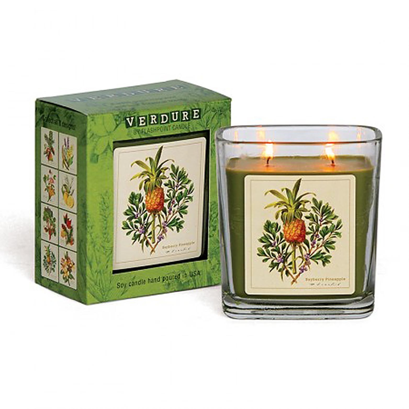 Verdure Soy Double Wick Candle Hand Poured in USA Boxed Gift (Bayberry Pineap...