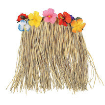 Large Hawaiian Hula Skirt with Flowers - Grass Hibiscus luau Party Outfi... - ₨824.38 INR