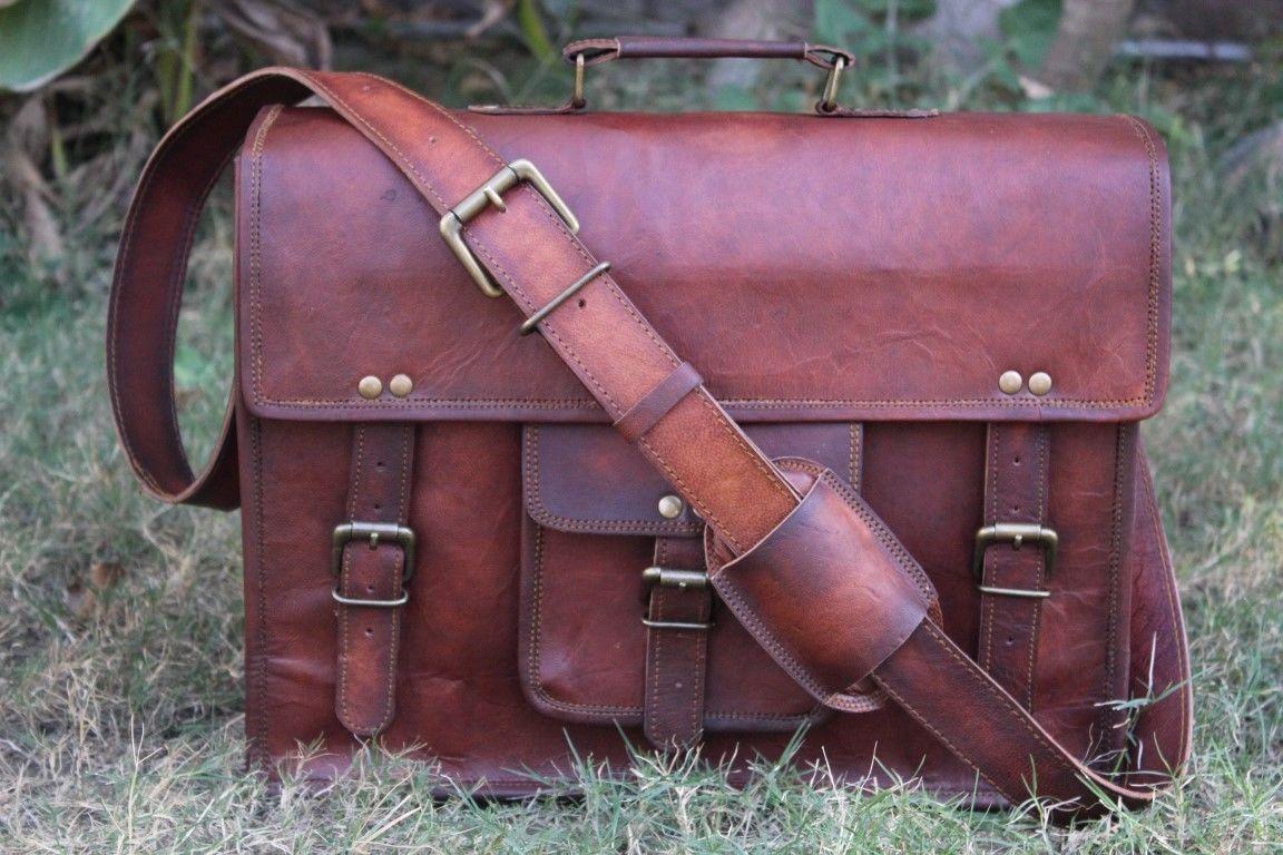 """Mens Vintage Leather Messenger Satchel Shoulder Briefcase for 15"""" Laptop Bag"""