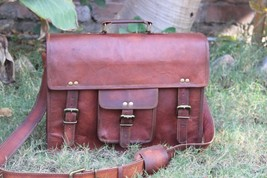 """Mens Vintage Leather Messenger Satchel Shoulder Briefcase for 15"""" Laptop Bag image 2"""