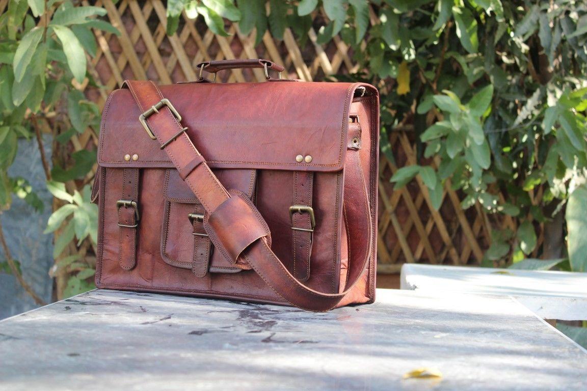 """Mens Vintage Leather Messenger Satchel Shoulder Briefcase for 15"""" Laptop Bag image 3"""