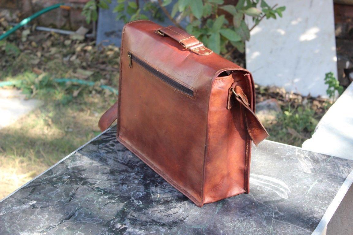 """Mens Vintage Leather Messenger Satchel Shoulder Briefcase for 15"""" Laptop Bag image 5"""
