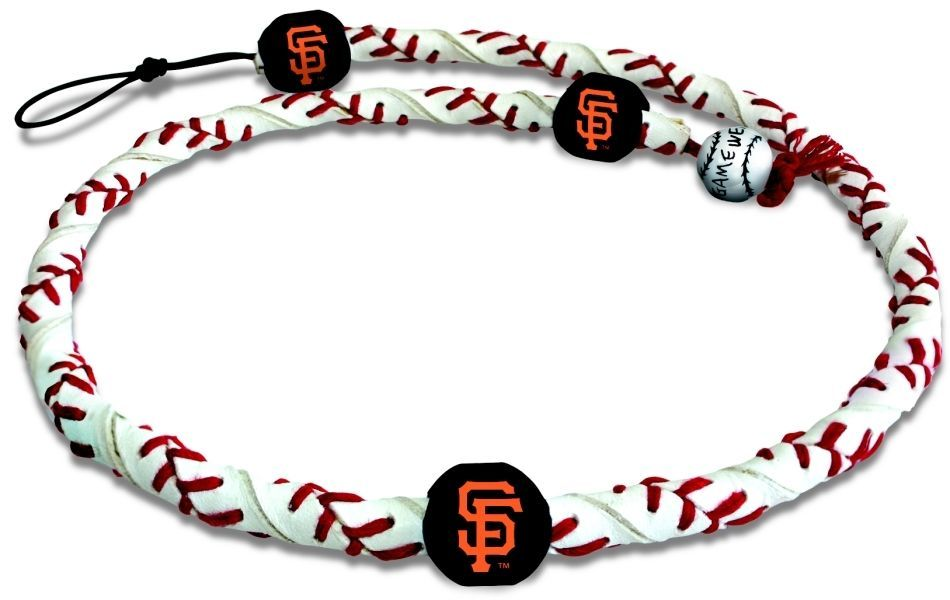 SAN FRANCISCO GIANTS FROZEN ROPE GENUINE BASEBALL LEATHER NECKLACE MLB