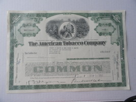 American Tobacco Co Stock Certificate 5 Shares 1962 - $9.99