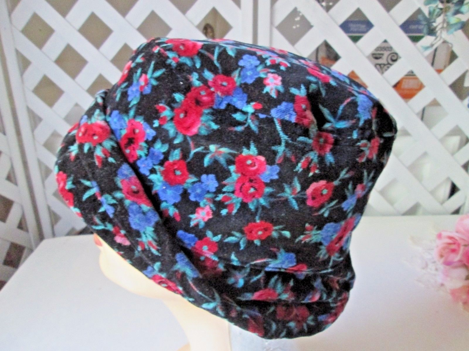 07deba831 Floral black velvet bucket hat The Gap L and 50 similar items