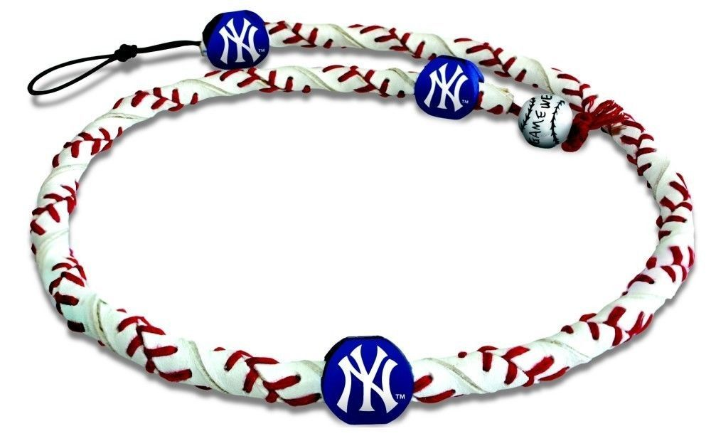 NEW YORK YANKEES FROZEN ROPE GENUINE BASEBALL LEATHER NECKLACE MLB