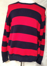 Polo Ralph Lauren Red Blue Cotton Long Sleeve Crew Sweater Size XL - $27.76