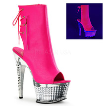 New ILLUSION 1018CH Neon Hot Pink PU Open-Toe/Open Heel Ankle Boot 6.5 i... - £50.23 GBP