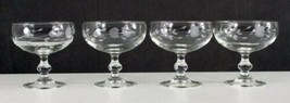 4 Princess House HERITAGE Etched Crystal Footed Sherbet/Low Champagne Glasses - $28.00