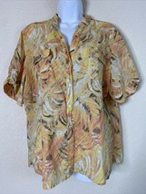 Chico's Womens Size 3 Orange Brushstroke Leaves Button Up Shirt Short Sl... - $18.22