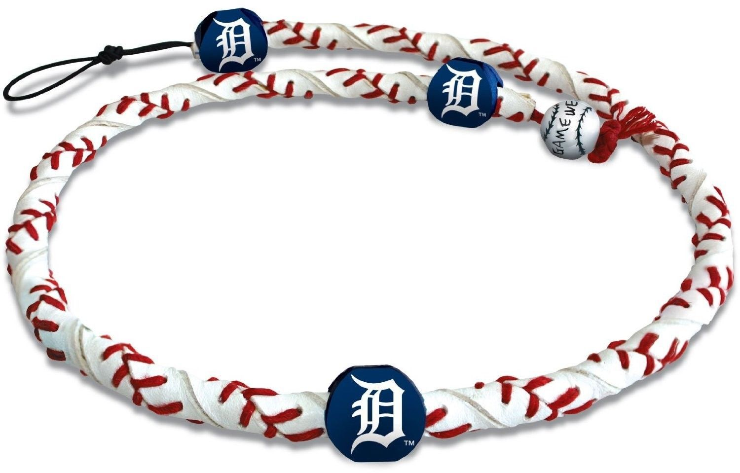 DETROIT TIGERS FROZEN ROPE GENUINE BASEBALL LEATHER NECKLACE MLB