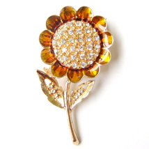Brooch Sunflower Gold Yellow Summer Flower Crystal Sparkle Pin Lovely Gift - $8.99