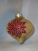 "Poinsettia Glass Christmas Ornament Gold Glitter Accents Flowers 3.5"" Hi... - $12.86"