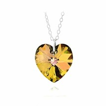 925 Sterling Silver Citrine Swarovski Elements Heart Necklace d459 - $17.08