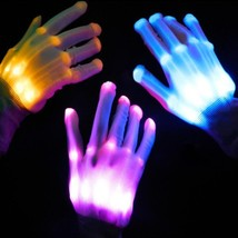 Gloves Led Light Finger Lighting Flashing Party Up Halloween Dance Colorful - $14.96