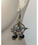 Steampunk Clock Arrow Large Earrings Bronze Gear & Hematite Drops j3 - $13.50