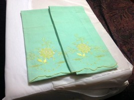 Pair of Vintage Green Pillowcases with Embroidery - $68.00