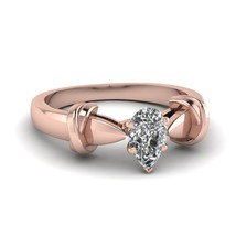0.65 Ct Pear Shaped Cubic Zirconia Dual Knot Engagement Ring 18K Rose Gold Fn - $79.99