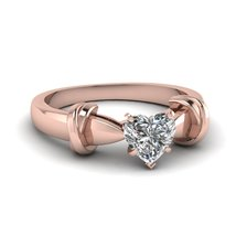 0.65 Ct Heart Shaped Cubic Zirconia Dual Knot Engagement Ring 18K Rose Gold Fn - $79.99