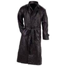 Giovanni Navarre Design Genuine Black Leather Trench Coat  4XL / XXXXL  - $51.49