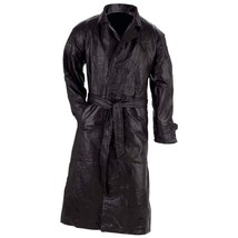 Giovanni Navarre Design Genuine Black Leather Trench Coat  SMALL - $51.49