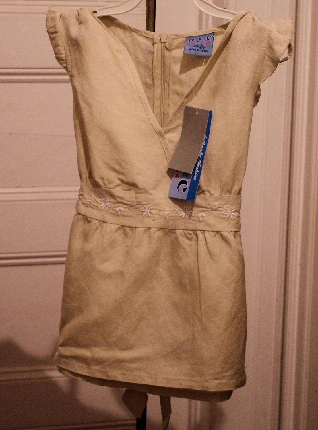 New Girls M 10/12 Top Tan Linen Blend Embroidered Tie Back Babydoll NWT