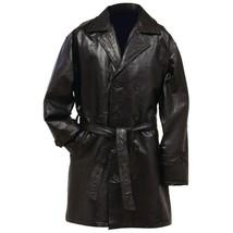 Giovanni Navarre Genuine BlackLeather Mid-Length Trench Coat 2XL / XXL - $49.89