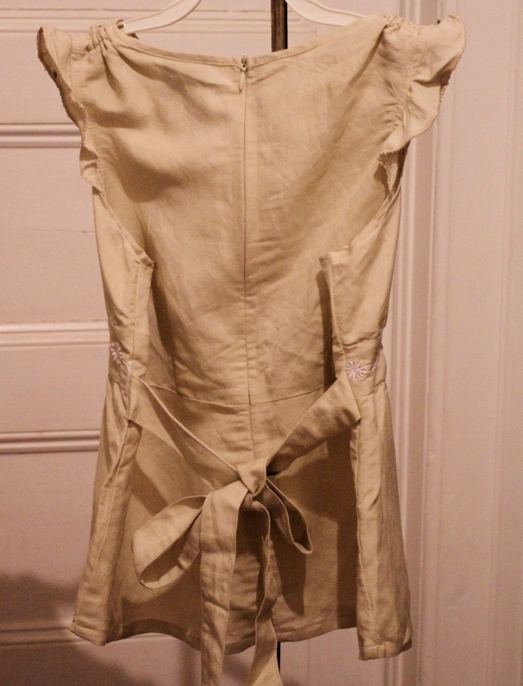 New Girls M 10/12 Top Tan Linen Blend Embroidered Tie Back Babydoll NWT image 3