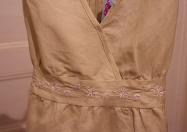 New Girls M 10/12 Top Tan Linen Blend Embroidered Tie Back Babydoll NWT image 2