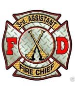 3rd ASSISTANT CHIEF FULL COLOR DIAMOND PLATE Fire Chief DECAL - $2.23