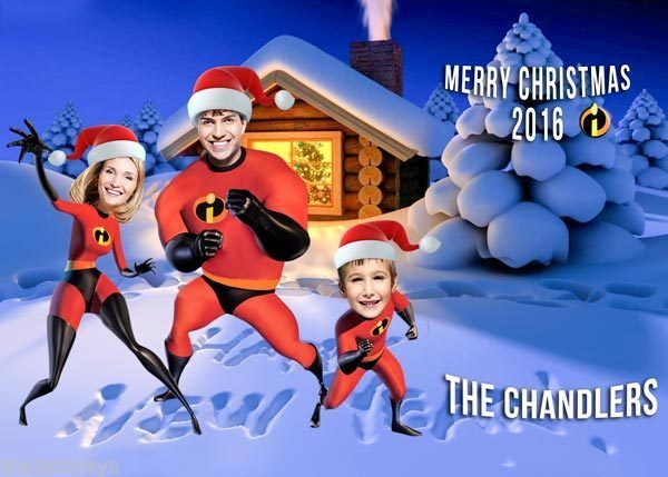 Superhero Christmas card, Incredibles PARODY Christmas Card, Family Christmas