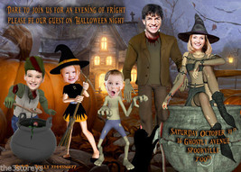 Witches, Frankenstein & Zombies Halloween Invitation, Halloween Party, Ghosts - $24.00+
