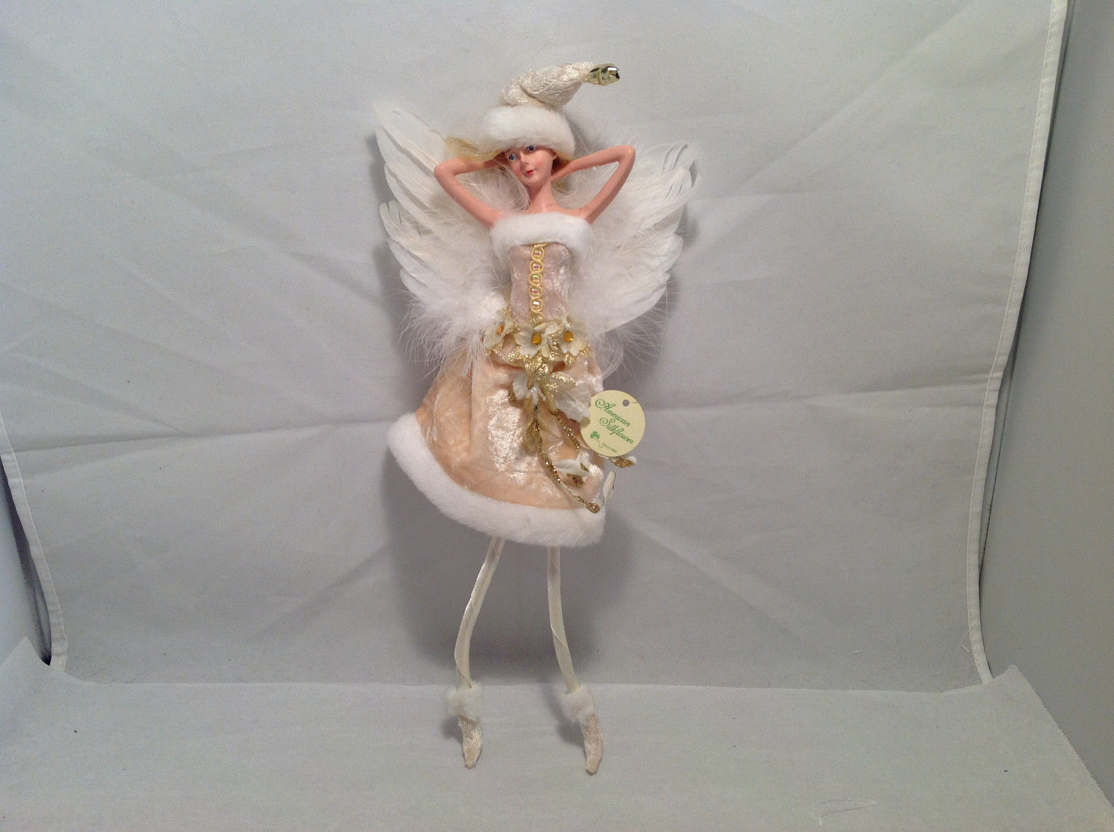 Ivory Velvet Christmas Angel Fairy Doll Hanging Ornament by American Silkflower