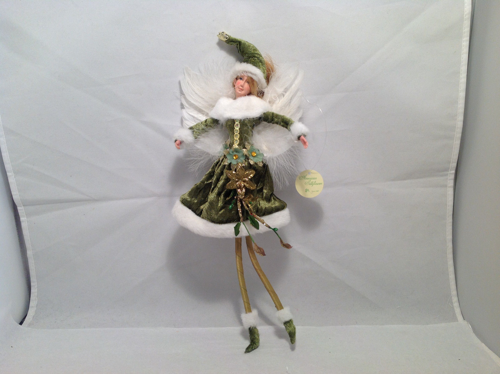 Green Velvet Christmas Angel Fairy Doll Hanging Ornament by American Silkflower
