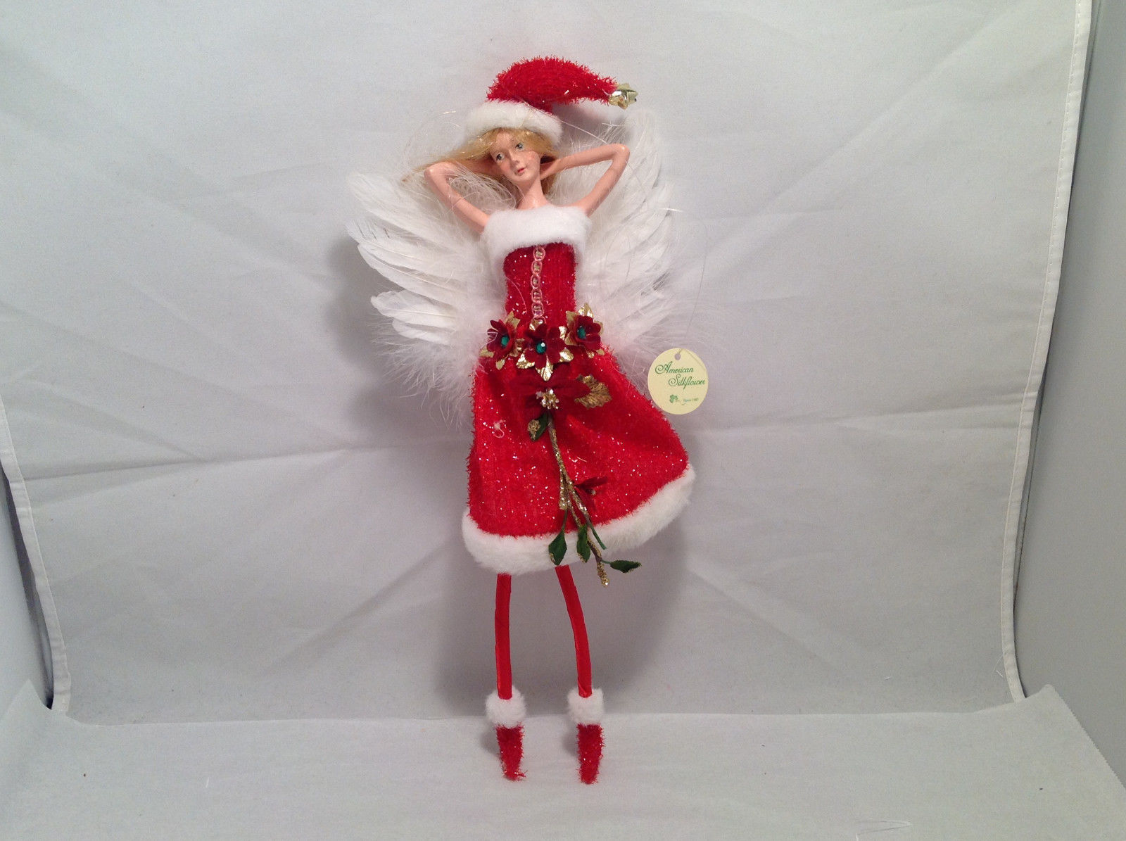 Red Tinsel Christmas Angel Fairy Doll Hanging Ornament by American Silkflower
