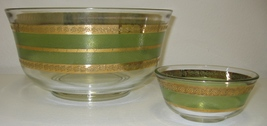 "Culver Starlyte Green 22Kt Gold Chip & Dip Serving Bowls Set 10.5"" & 5""  - $45.00"