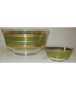 """Culver Starlyte Green 22Kt Gold Chip & Dip Serving Bowls Set 10.5"""" & 5""""  - $45.00"""