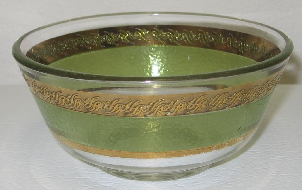 """Culver Starlyte Green 22Kt Gold Chip & Dip Serving Bowls Set 10.5"""" & 5"""""""