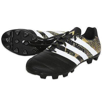 adidas 2016 ACE 16.3 HG Soccer Cleats Football Shoes Black/White/Gold S31905