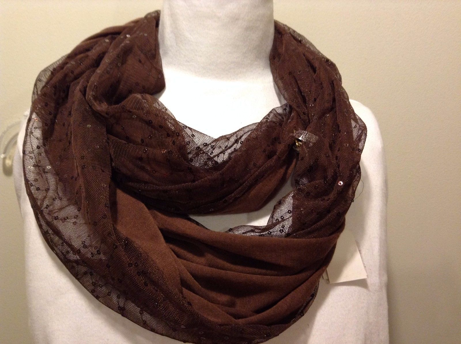 Brown Sheer Sequins Infinity Scarf 100% Polyester
