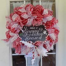 Deco mesh Christmas wreath red white ribbons me... - $29.03