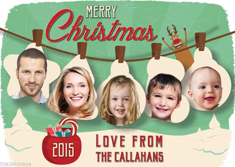 Retro Christmas Card, Photo Christmas Card, Holiday Card, Custom Christmas Card