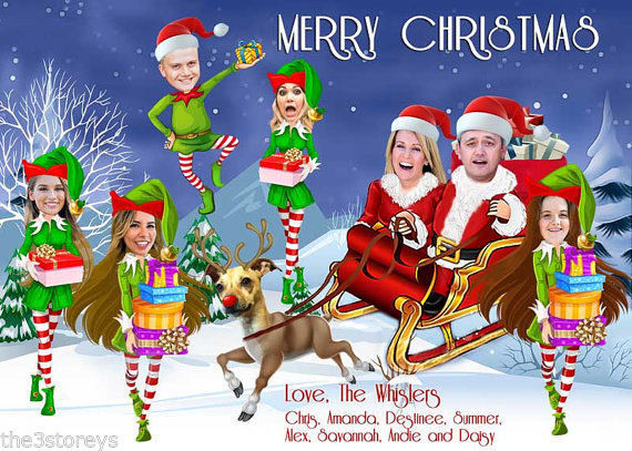 FAMILY PHOTO SANTA & ELVES CHRISTMAS CARD, Santa's sleigh, funny Christmas card