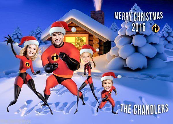 Superhero Christmas card, Incredibles PARODY Christmas Card, Family Christmas