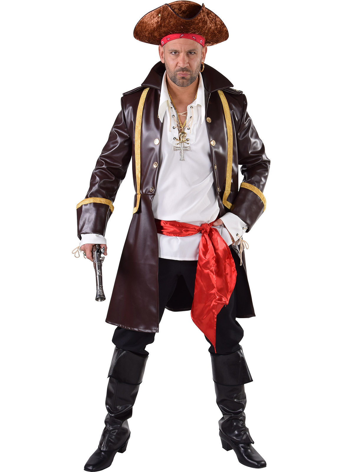 "Pirate ""Great"" Coat  - Brown Leather Look"