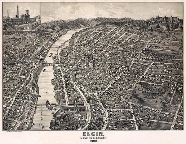 Elgin, Illinois - 1880 - Aerial Bird's Eye View Map Poster - $9.99 - $32.99
