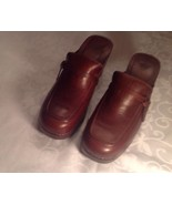 AE OUTFITTERS Shoes Brown LEATHER Retro Chunky Heels Clogs Mules Womens ... - $17.94