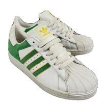 Adidas Superstar Junior Sneakers Size 5.5 Leather Green Nubuck Yellow Unisex - $16.99