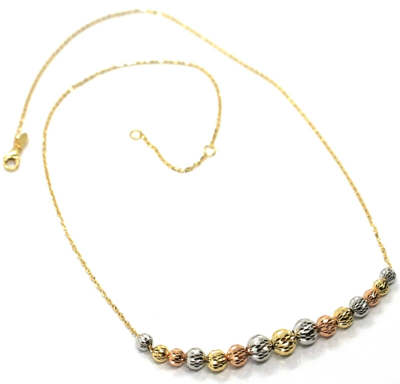18K YELLOW WHITE ROSE GOLD NECKLACE, ALTERNATE FACETED WORKED BALLS SPHERES