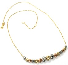 18K YELLOW WHITE ROSE GOLD NECKLACE, ALTERNATE FACETED WORKED BALLS SPHERES image 1